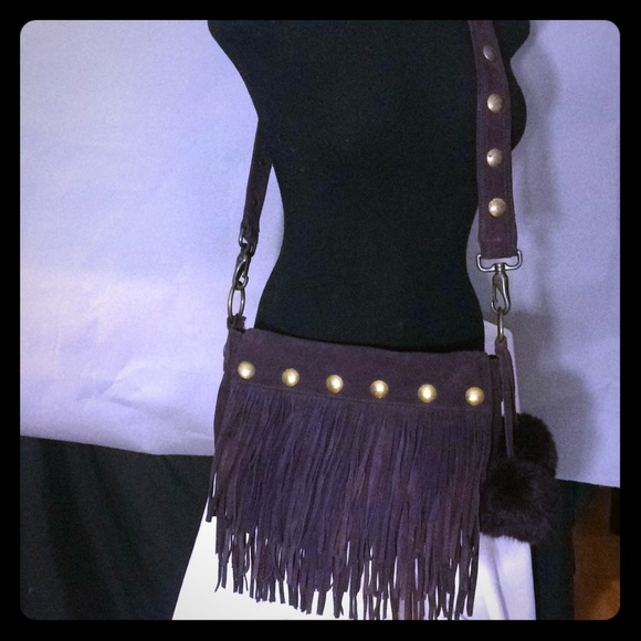 a9d9f7b02f Jennifer Lopez Handbags - JLo authentic plum suede fringe boho crossbody bag
